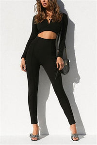 Casual Fashion Pure   Color Long Sleeves Sexy Backless Jumpsuits Black s
