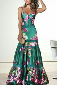 Fashion Sexy Floral Plunge Ruffles Layered Hem Evening Dress same_as_photo 3xl