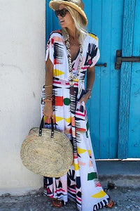 V-Neck  Waist Printed Plain Maxi Dress same_as_photo s