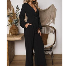 Chic Elegant V-Collar Button Long Sleeve Wide Leg Jumpsuit