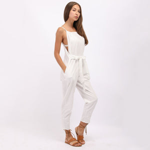 Fashion White Sleeveless Pockets Vintage Jumpsuits green l