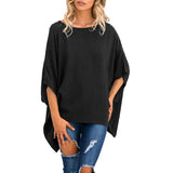 Round Neck  Asymmetric Hem  Plain  Batwing Sleeve T-Shirts Black m