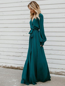 V-neck Long Sleeves Belted Maxi Dress GREEN M
