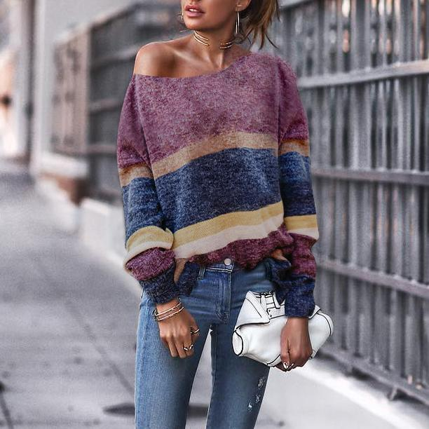 Fashion Off Shoulder Stripe Long Sleeve Sweaters same_as_photo xl