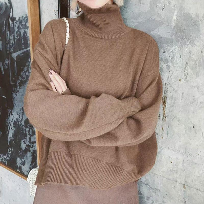 Casual High Collar Pure Colour Loose Knitted Sweater Coffee one size