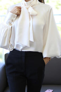 Casual Chiffon Bishop Sleeve Pure Colour Shirt White s