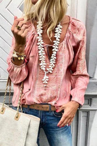 Lace Up Fashion V Neck  Long Sleeve Blouses pink s