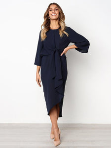 Solid Color Bandage Fabala Long Sleeves Midi Dress NAVY BLUE XL