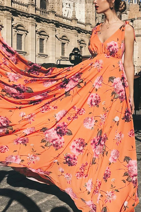 Elegant Sexy Floral Print Vacation Maxi Dress yellow s