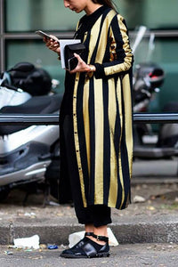 Fall And Winter Fashion Striped Long Coat Same As Photo s