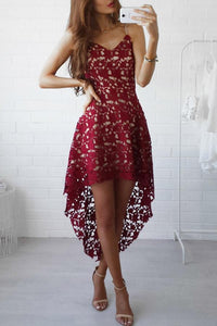 Lace Spaghetti Strap Curved Hem Sleeveless Skater Dress claret_red xl