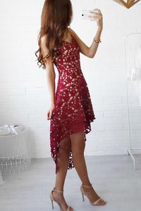 Lace Spaghetti Strap Curved Hem Sleeveless Skater Dress claret_red l