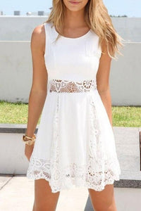 Lace Round Neck Patchwork Sleeveless Skater Dresses white l