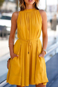 Patch Pocket Flared Sleeveless Skater Dresses yellow s