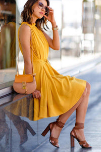 Patch Pocket Flared Sleeveless Skater Dresses yellow l