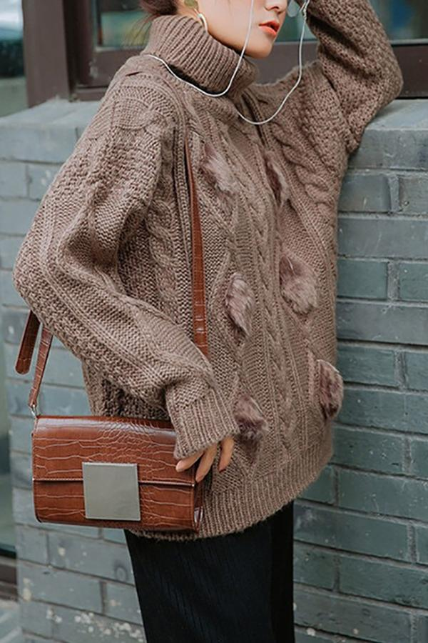 Casual Thickening Pure Colour Mohair High Collar Loose Sweater Khaki one size