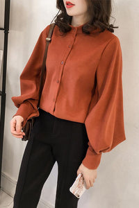 Fashion Casual Simple And Pure Color Long Sleeve Loose Shirt Orange 4xl