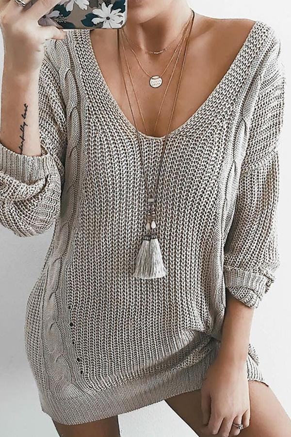 Sexy V-Neck Gray Long-Sleeved Knitted Sweater gray s