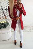 Vintage Button Long Sleeve Plain Blazers Red s