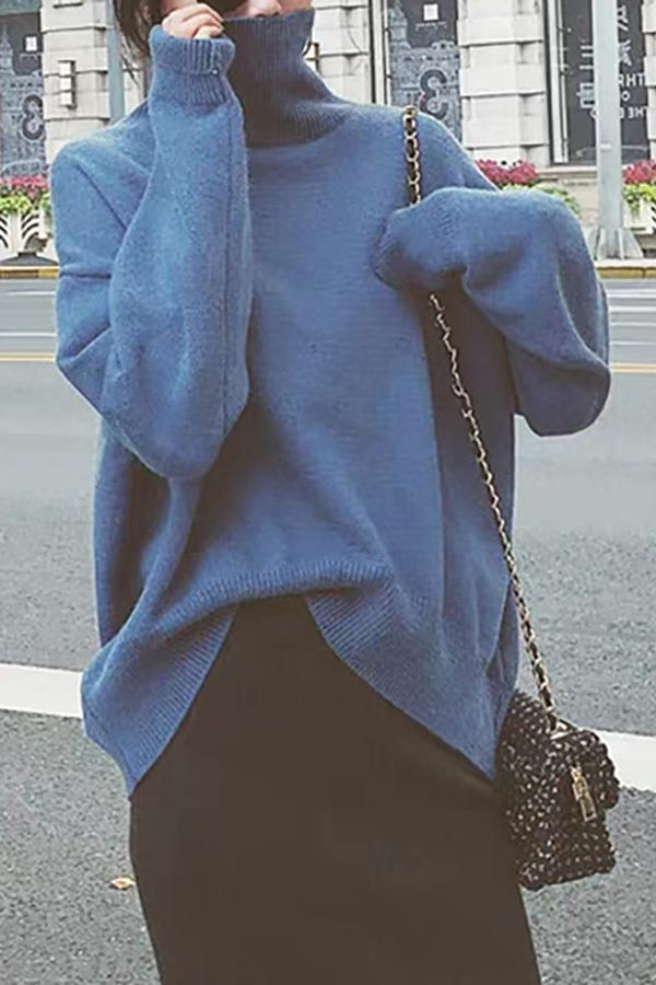 Casual High Collar Pure Colour Loose Knitted Sweater Blue one size