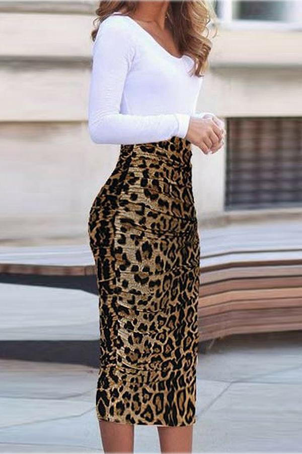 Autumn Leopard Printed Bodycon Dress Same As Photo m