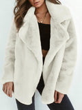 Elegant Lapel Solid Winter Velvet Women Outwear white m
