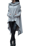 Solid Color Irregular Long Hooded Sweater light_gray s