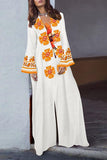 V-Neck Tassel Printed Cotton\/Linen Dress white s