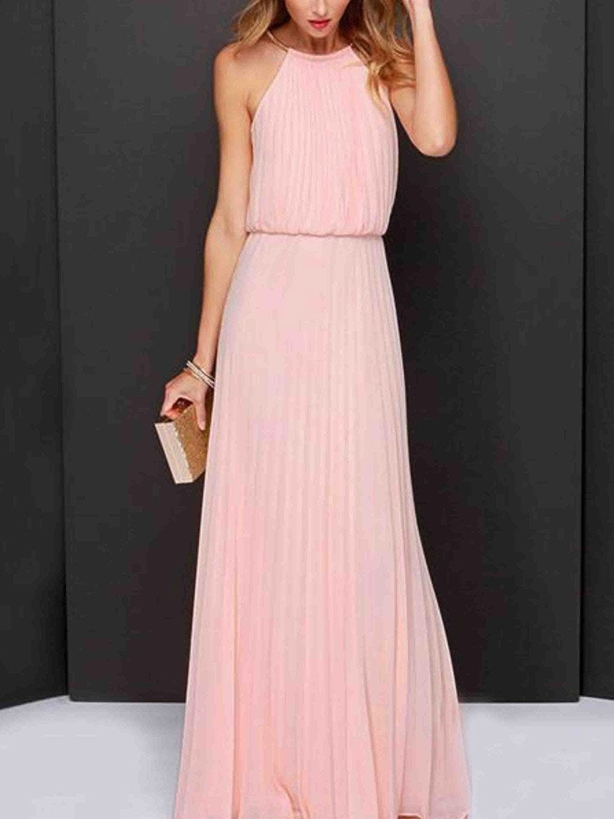 Halterneck Sleevelss Evening Dress PINK S