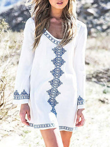 Beautiful Bohemia Long Sleeve Big Round Neck Mini Dress WHITE