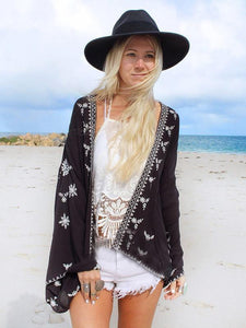 Beautiful Black Long Sleeve Printed Shawl Cover-up Tops BLACK Free(Bust49.6 Sleeve13.8 Length26.4)