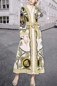 Elegant Noble Chic Slim Print V Collar Lace-Up Waistband Long Sleeve Maxi Dress same_as_photo m