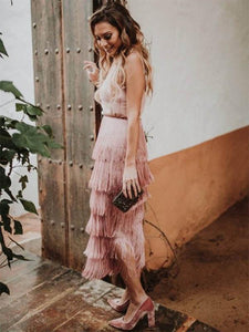 Spaghetti-neck Stacked Tassels Midi Dress PINK XL