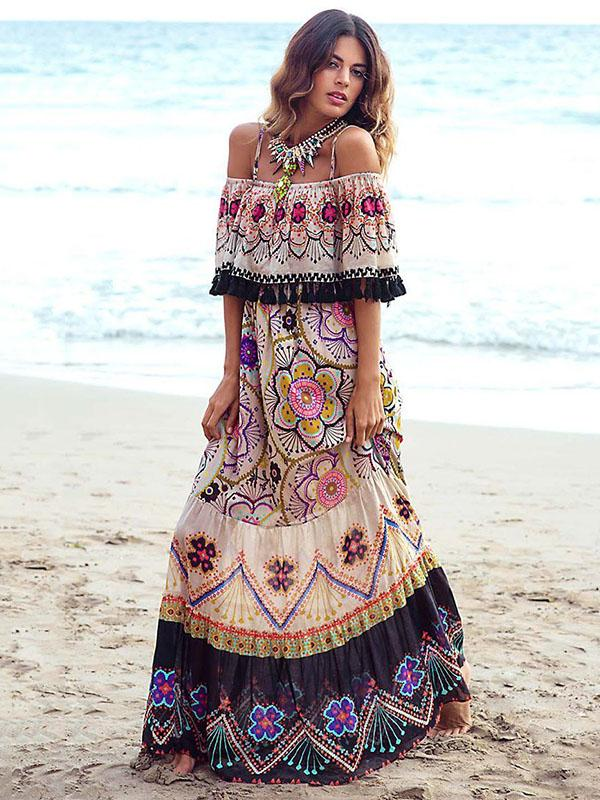 Bohemia Off-the-shoulder Maxi Dress M