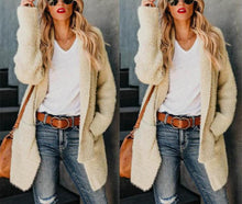 Casual Sexy Pure Color Irregular Split Length Plush Cardigan Jacket