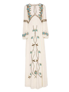 White Embroidered Puff Sleeve Maxi Dress WHITE XL