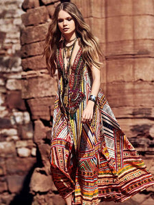 Bohemia Print V-neck Straps Maxi Dress XL