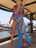 Chiffon Floral-Print Long Sleeve Deep V Neck Side Split Maxi Dress M(Sleeve23.6 Length55.1)