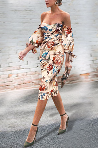 Sexy Off Shoulder Floral Printed Puff Sleeve Bodycon Dress same_as_photo s