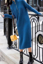 Fashion Hingh Collar Show Thin Pure Color Knit Sweater Maxi Dress