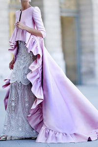 Sexy Solid Color Ruffled Maxi Dress Pink s