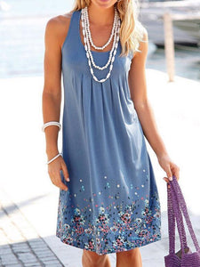 Popular Floral-Print Round Neck Sleeveless Loose Midi Dress SKY-BLUE M