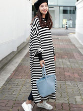 Loose Split-side Striped Blouse Skirt