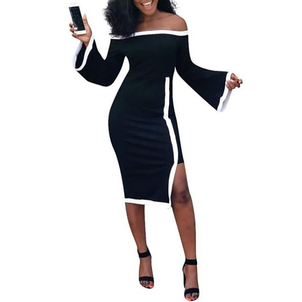 Off Shoulder  Asymmetric Hem Cutout Patchwork  Contrast Stitching  Plain Striped  Bell Sleeve Bodycon Dresses black m