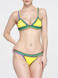 Sexy Knitting Colored Crochet Two-Pieces Bikini Swimwear YELLOW L
