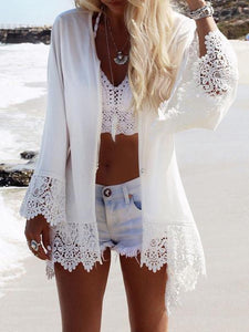 Lace Sleeves Mini Eagle Print White Bohemia Beach Cardigan Tops WHITE