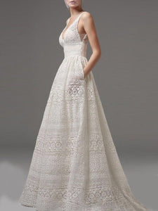 Deep V-Neck Hollow Out Plain Lace Wedding Evening Dress white s