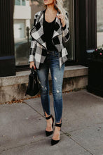 Fold Over Collar Asymmetric Hem Plaid Jackets