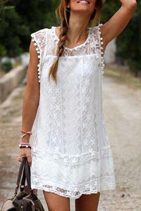 Round Neck  Tassel  Lace Plain Casual Dresses white s