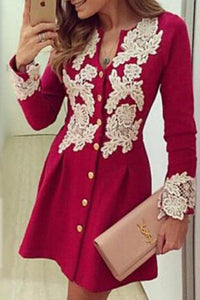 V Neck  Decorative Lace  Lace Plain  Long Sleeve Skater Dresses red xl